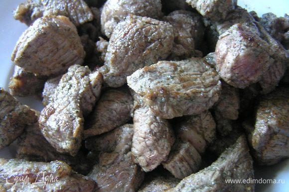 уложить половину всего мяса в горшочек. Щедро посолить.