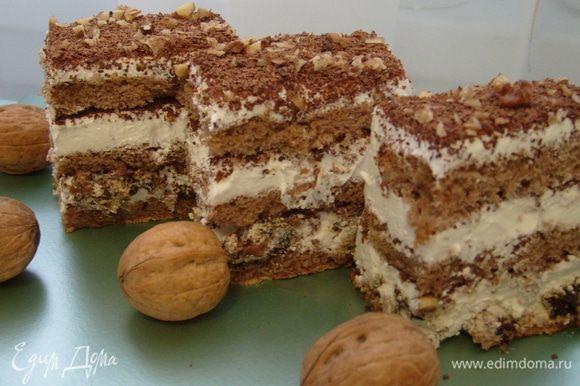 Охлажденный торт порезать на прямоугольные пирожные и можно подавать к утреннему кофе))