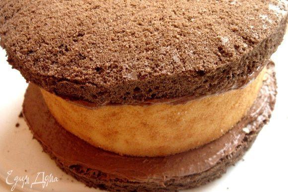 Смазать рулет кремом и накрыть вторым шоколадным коржом. Обмазать торт кремом со всех сторон.