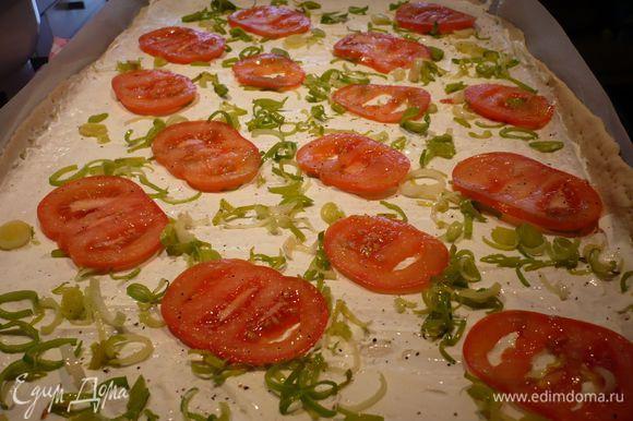 Смазываем сметаной тесто, выкладываем лук и помидоры. Ставим в духовку на 10 – 15 минут.
