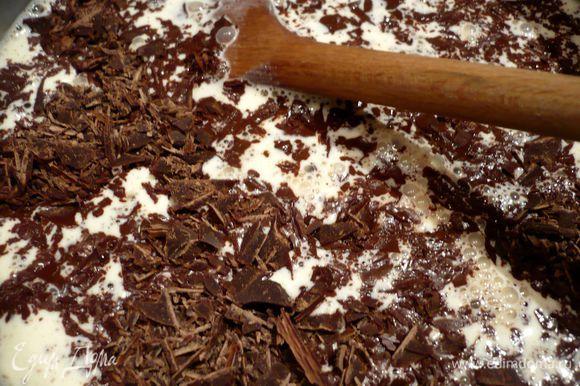 Готовим крем. Для этого доводим сливки до кипения и растапливаем в них шоколад, хорошо перемешивая. Добавляем сироп и взбиваем погружным блендером. Ставим охлаждаться. Затем убираем в холодильник (лучше на 24 часа).