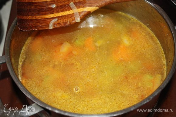 Наши потушенные и обжаренные овощи заливаем 1 л воды и доводим до кипения. Если хотите не такой уж диетический вариант,можете воду заменить куриным бульоном.