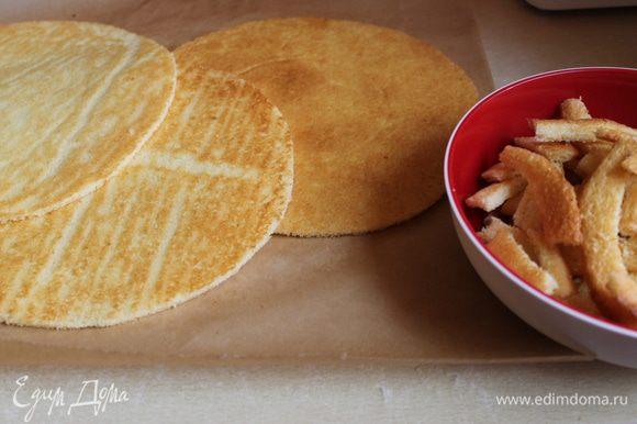 остывшие коржи, обрезаем по тарелке меньшего диаметра, складываем стопкой.