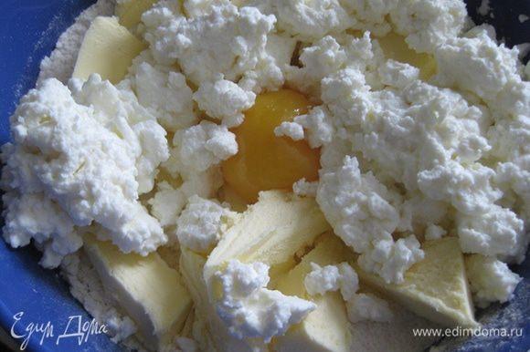 Муку просеять, добавить сахарную пудру, лимонную цедру, масло, порезанное на кусочки, творог, желток и замесить тесто. Убрать в холодильник на час.