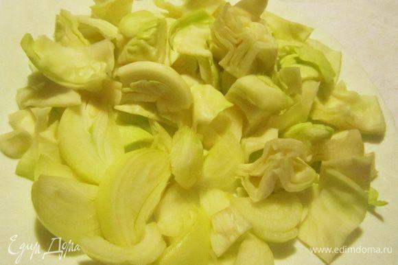 Луковицу и капусту крупно порубить.