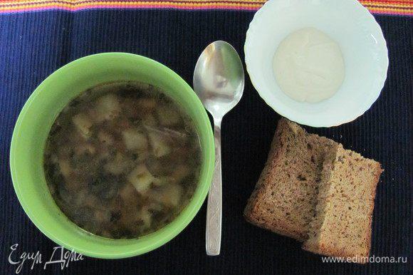 Подавать суп со сметаной. Приятного Вам аппетита!!!