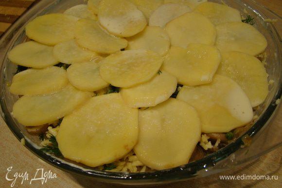 Верхний слой должен быть картофельным, его надо только залить оставшимися яйцами со сливками (оставьте немного сыра и зелени). Форму накрыть фольгой