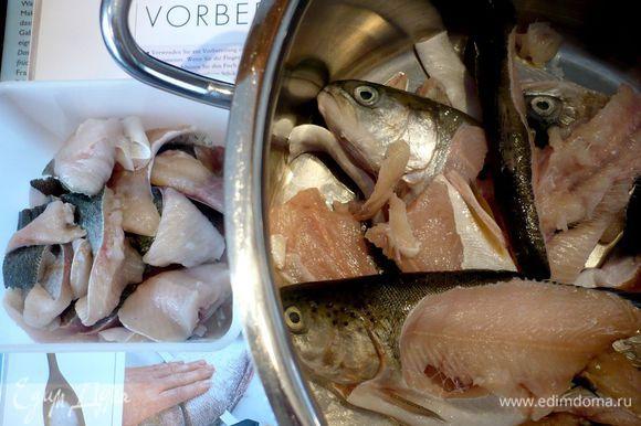 А вот все мои настрадавшиеся рыбки, разделенные на каркасы и филе. Потом я еще немного пособирала мясо с каркасов и отложила его к филе. Филе форели убираем в холодильник.
