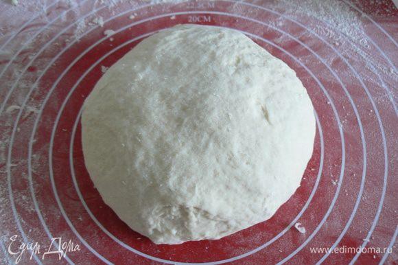 В большой миске смешайте масло, соль и муку. Добавьте дрожжевую смесь и смешайте до однородной массы. Скатайте в шар и оставьте в теплом месте на 30 минут