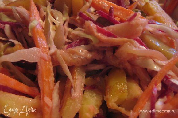 Как только картошка будет готова добавить её в салат, заправить майонезом, посолить, поперчить и подавать немедленно!