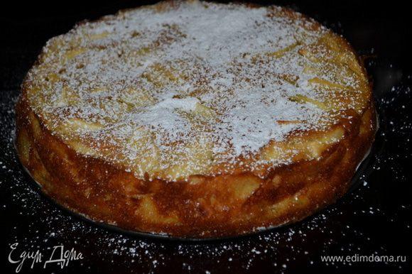 Готовый кекс выложить перевернув на тарелку.Посыпать ванильным сахаром,цитрусовой стружкой, в моем случае сахар. пудра. Подаем, разрезав на порции с взбитыми сливками.Наслаждаемся.