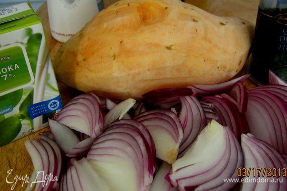 картофель (я взяла батат), лук - все порезать