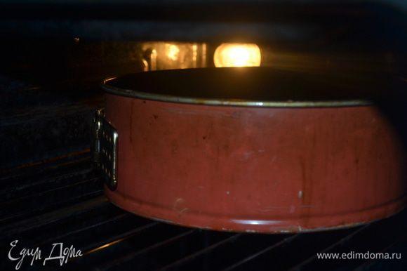 Выкладываем тесто в смазанную растительным маслом разъемную форму 24 см. Выпекаем 40 минут при 180 гр.