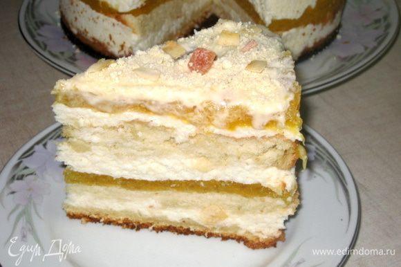Сборка: Бисквит разрезать на 3 части. Пропитать сиропом. В разъёмную форму положить 1 часть бисквита. Поставить кольцо от формы и нарастить бортики. Кокосовый мусс разделить на 3 части. 2 меньших, 1 большую. Выложить на корж 1-ую, меньшую часть кокосового мусса, затем отправить на 10 минут в холодильник. Теперь кладём 2-ую часть бисквита и пропитываем. На неё укладываем 1 персиковое желе. А на него большую часть кокосового мусса. Затем на 10 минут в холодильник и потом 3 часть бисквита, пропитка, 2-ая часть меньшего кокосового мусса. В холодильник на 15 минут. И 2-ое персиковое желе. А теперь можно и в холодильник на ночь. С утра поливаем глазурью не снимая бортики и украшаем. Можно угощаться!
