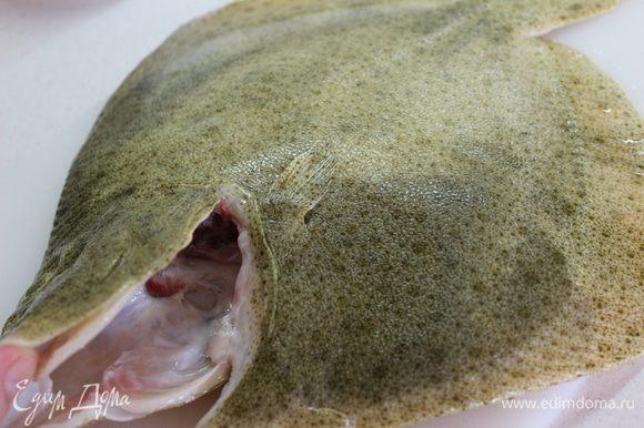 Разделать рыбу: ножницами удалить жабры, сделать надрез вдоль брюшка, начиная от горловины рыбы, освободить от всех внутренностей и промыть...обсушить бумажным полотенцем
