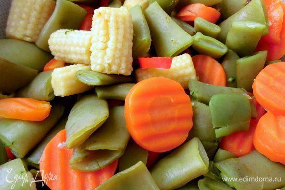 Оставшуюся воду закипятить в кастрюле. Положить в нее замороженные овощи, варить 2-3 минуты. Откинуть на дуршлаг.