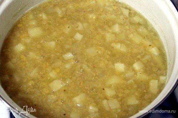 Получается вот такой суп. Выключаем огонь и оставляем на плите.
