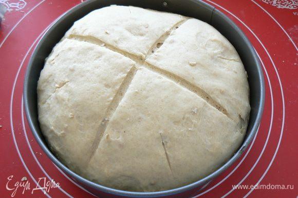 затем хлеб обомните,положите на расстойку на 1час,перед посадкой в духовку сделайте надрезы