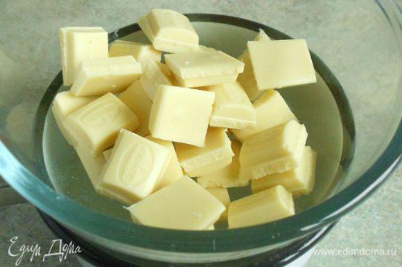 На водяной бане расплавить поломанный шоколад и отставить в сторону остывать.