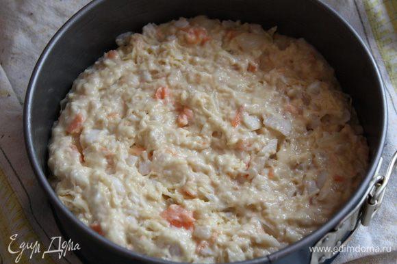 Смазываем форму растительным маслом, выкладываем тесто и отправляем в разогретую до 160 градусов духовку на 20-25 минут. Приятного аппетита!!!!