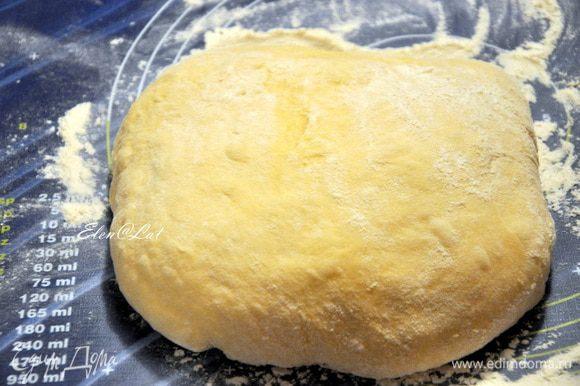 Тесто я замешиваю в хлебопечке, если вы такой еще не обзавелись, то смешайте в миске все ингредиенты для теста, хорошо вымесите, и накрыв полотенцем дайте подойти в теплом месте (пока объем не увеличится вдвое).