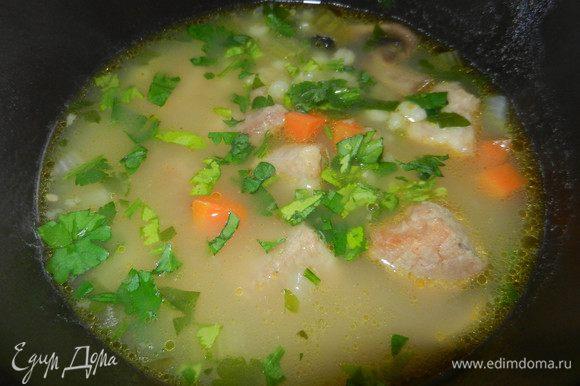 Перед концом добавить петрушку и зеленый горошек, посолить, если необходимо. Подавать горячим.