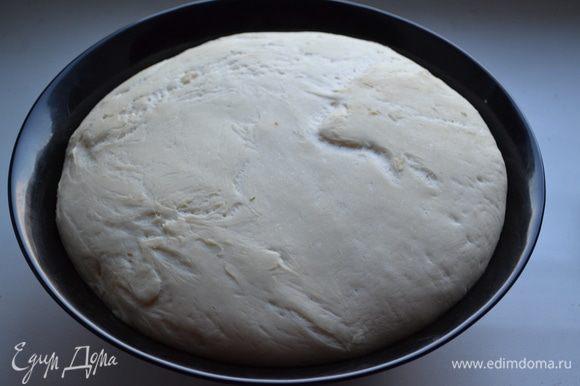 Переложите тесто в чистую посуду, предварительно смазав её стенки и дно растительным маслом. Прикройте ёмкость полотенцем и дайте тесту подойти Тесто должно увеличится в 2-3 раза.