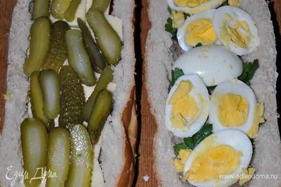 Котлеты, яйца и огурцы порезать. Уложить слоями все ингредиенты.