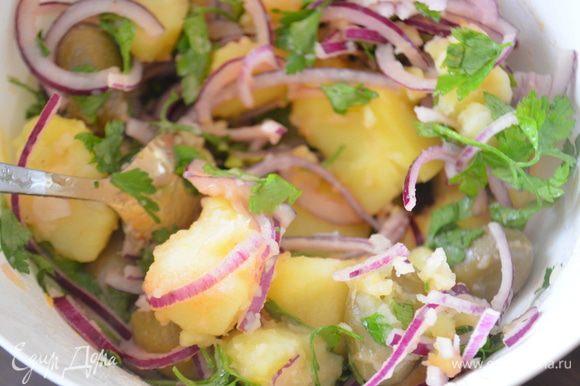 В картофель выложить лук, зелень и оливки (без косточек). Перемешать и сразу подавать на стол!