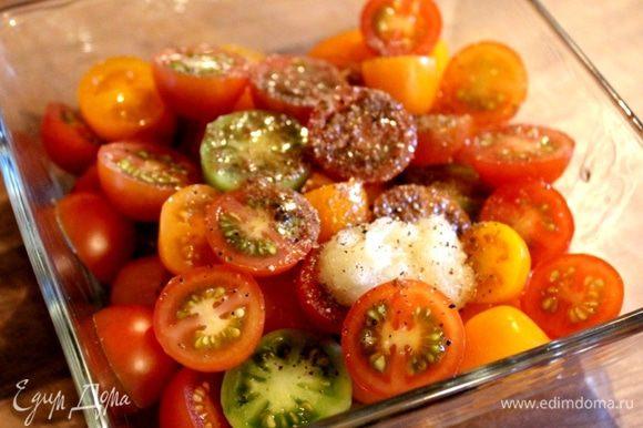 Перед подачей чизкейка к столу приготовить салат из помидоров. Смешать оливковое масло, уксус, тмин, измельчённый или растёртый в пюре чеснок, соль и перец. Черри разрезать пополам и соединить с ароматной заправкой. Можно смешать помидоры с маслинами и измельчённым базиликом и заправить смесью оливкового масла, уксуса, соли и перца.