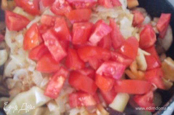 Затем добавить перец, порезанные помидоры, лук, измельченный чеснок с острым перцем. Посолить, поперчить, добавить кориандр, накрыть крышкой и тушить до готовности овощей.