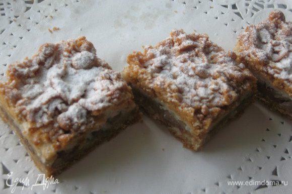 Даем остыть, не вынимая из формы, уже остывший пирог разрезаем на кусочки, присыпаем сахарной пудрой.
