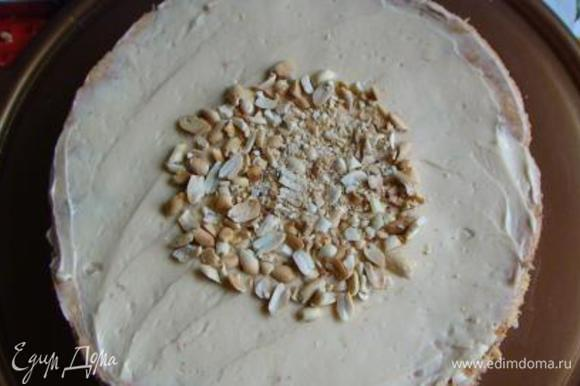 На блюдо выкладываем ореховый корж, смазываем его половиной орехового крема, посыпаем половиной арахиса. Сверху кладем 2-й ореховый корж смазываем оставшимся кремом и посыпаем частью оставшегося арахиса только в центре (в месте, которое будет прикрыто тыквенным коржом меньшего диаметра). Немного арахиса оставить для украшения.