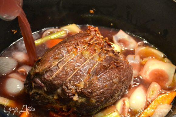 Залить все вином от маринада. Накрыть мясо крышкой и томить на среднем огне 2 часа, не забывая время от времени переворачивать мясо.
