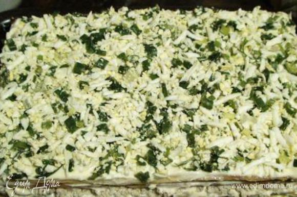 Испечь 4-й корж, выложить на грибы, ГОРЯЧИМ смазать майонезом и сверху яйца с зеленым луком.