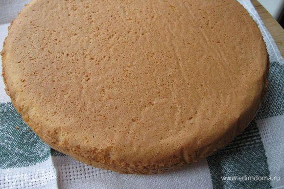 В кулинарных школах иногда проверяют готовность, переворачивая бисквит вверх дном. Дно, как и все остальные поверхности, должно быть с ровным румянцем, без белых пятен. Поставить в выключенную духовку на решетку до полного остывания, вынуть из духовки, положить на полотенце. Дать постоять 2 часа, накрыв полотенцем.