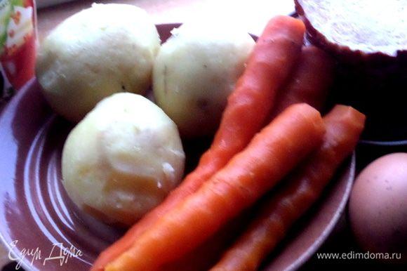 Картофель с морковкой отварить, остудить, очистить.