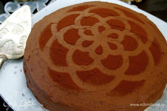 Готовый торт по желанию украсить, присыпав какао-порошком (2 ст.л.)...