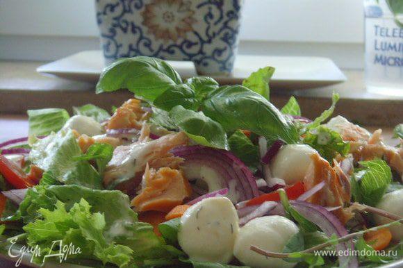 Все составляющие салата выложить на салатный микс, добавить бамбини - моцареллу, полить оставшейся заправкой и украсить веточкой базилика.