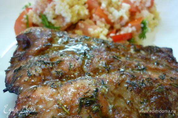 Вкусная и нежная рыба в красивой глазури. Вкусна сама по себе. А мы уплетали с салатом из кускуса.
