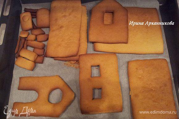 Половину муки смешать с пряностями, разрыхлителем и какао. Вмешать в медовую массу. Замесить мягкое тесто, постепенно подмешивая остальную муку. Еще теплое тесто положить в пакет и в холодильник на ночь. Раскатать тесто, вырезать все детали ( в т.ч. и подставку) и выпекать при 180 гр около 20-30 минут.