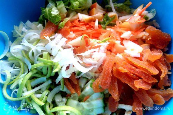 Высыпать овощи в блюдо для перемешивания.