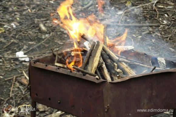 Разложить мангал, грани понадобится немного, поэтому можно воспользоваться углями.