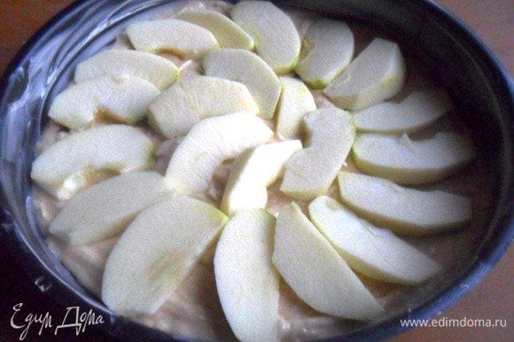 Форму диаметром 23 см смазать маслом. В подготовленную фору выложить тесто. Яблоки вымыть, обсушить, удалить сердцевину, очистить и нарезать ломтиками. Выложить на тесто.