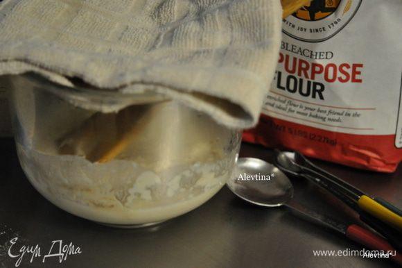 В небольшой емкости смешать первых 4 ингредиента стартера. Закрыть пленкой или полотенцем и дать постоять 15 мин. Содержимое заметно увеличится.