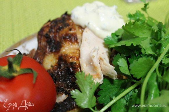 Готовить на открытом огне, на решетке. Подавать с зеленью, овощами и соусом. Приятного аппетита!