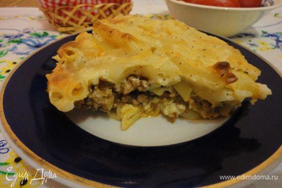 Разрез горячего блюда не очень характерный, в отличии от холодного, как видно из основного фото.