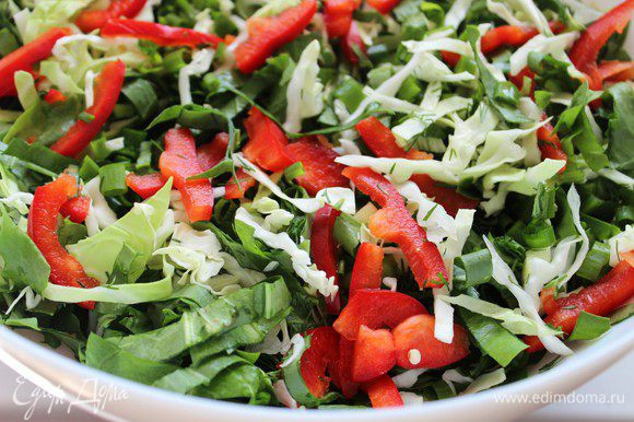 Соединить капусту, зелень и порезанный болгарский перец, добавить рубленый чеснок.