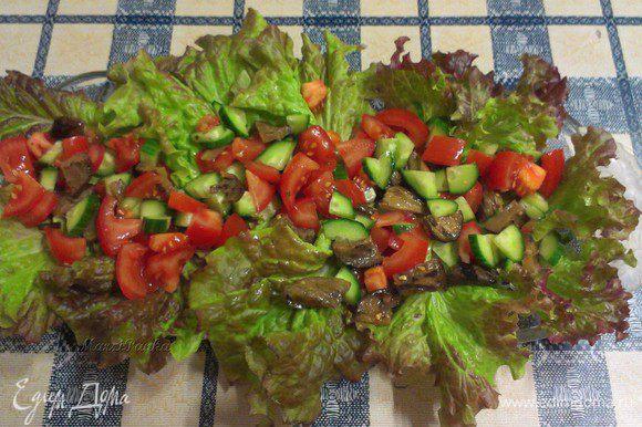 Сверху распределить смесь из огурца, помидоров и баклажана.