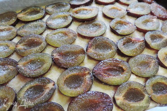 Зетем посыпаем сливы сахаром и отправляем пирог в духовку, разогретую до 200 градусов на 30 минут. Если верх начнет сильно румяниться - прикройте пирог бумагой.